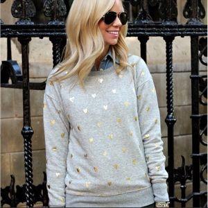 ⚡️SALE J. Crew Gold Heart Sweatshirt